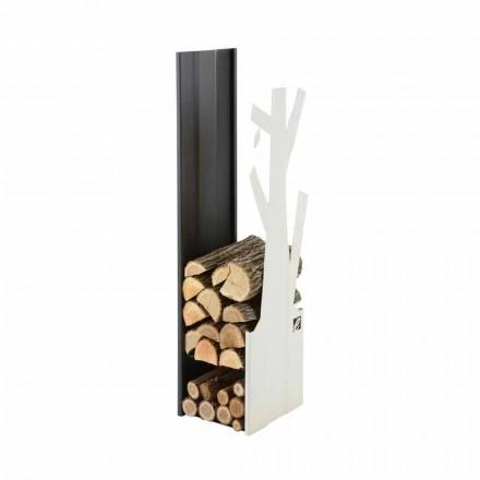 Stojak na drewno kominkowe do wnętrz ze stali-PLVA made in Italy