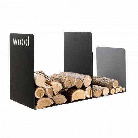 Podwójny uchwyt do drewna w czarnej stali z bocznym zdobieniem Nowoczesny design - Altano1