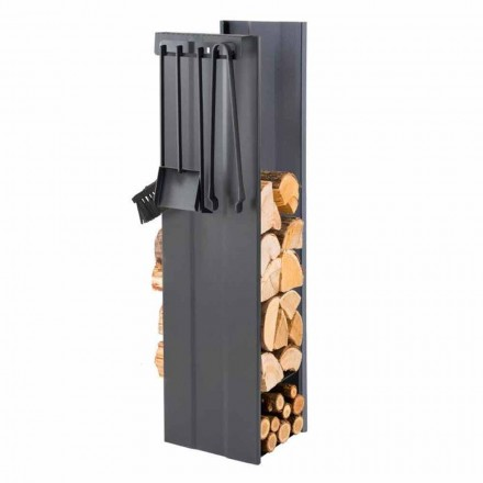 Zaprojektuj uchwyt na drewno opałowe z 4 narzędziami do wnętrz Made in Italy - Janet