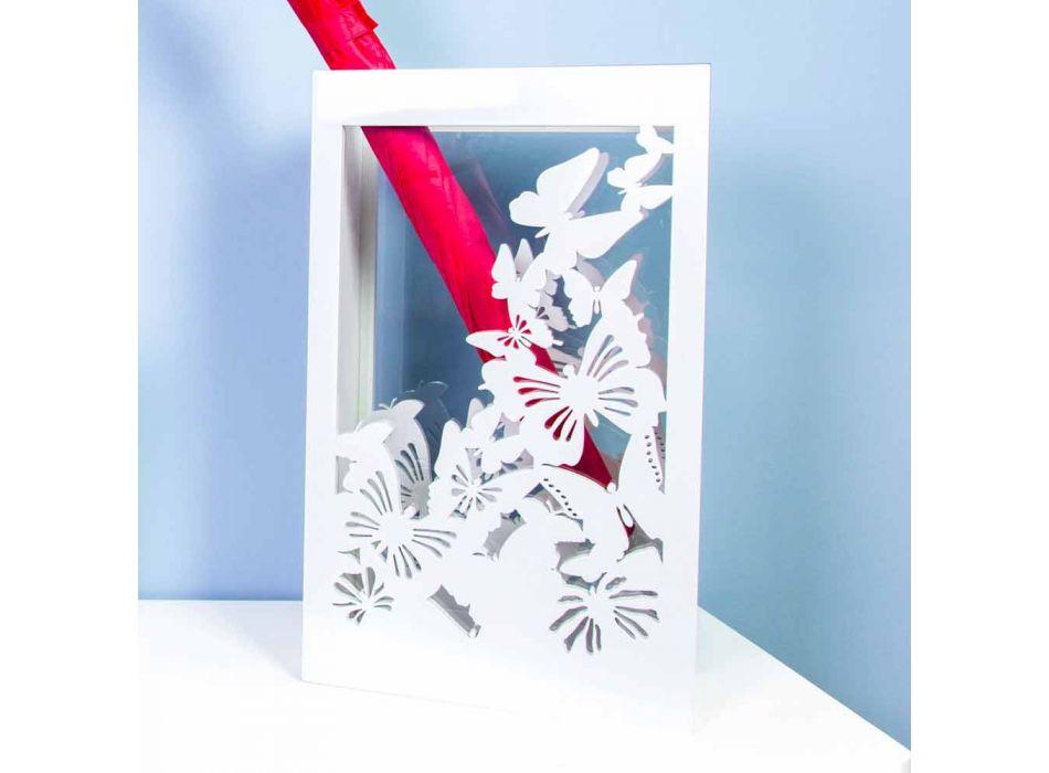 Biały drewniany stojak na parasole o nowoczesnym designie ozdobiony motylami - Papilio