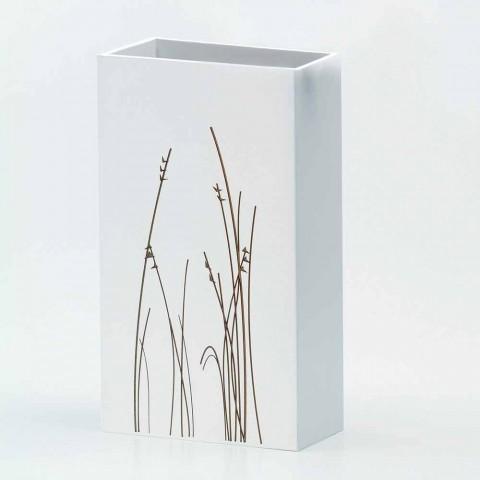 Biały stojak na parasole z dekorowanego drewna, nowoczesny design, prostokątny - filigran