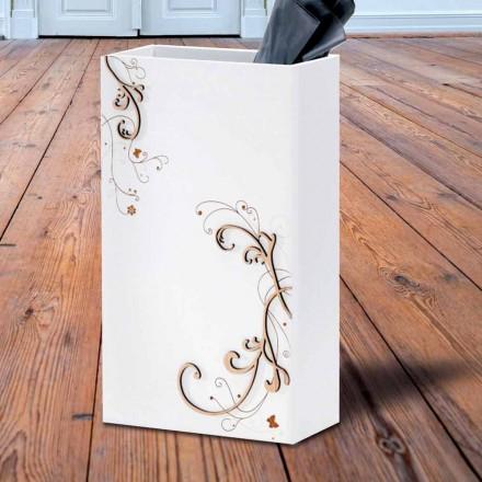 Nowoczesny, elegancki stojak na parasole z ciemnego lub białego drewna z dekoracjami - poezja