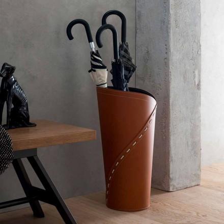 Nowoczesny stojak na parasole w zregenerowanej skórze Katrina, wyprodukowany we Włoszech
