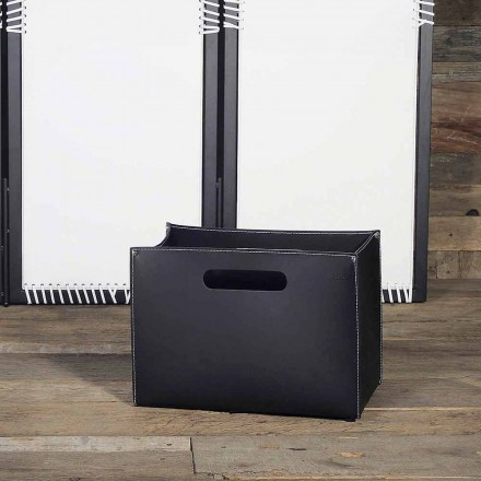 Skórzana torba na czasopisma z drewnianą podstawą z gumowanymi stopkami - model Sandler