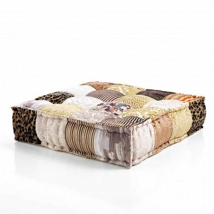 Etniczna pufa w patchworku lub aksamicie - włóknie