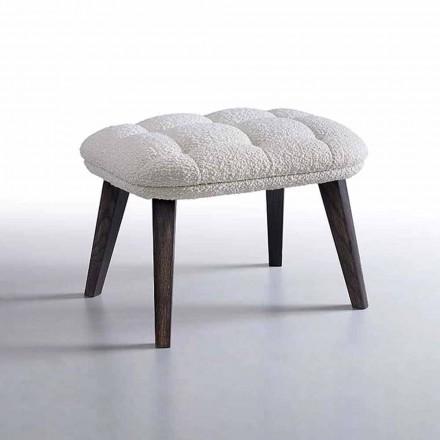 Designerska pufa pokryta tkaniną z drewnianą podstawą Made in Italy - Clera
