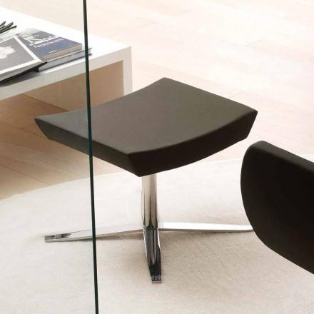 Nowoczesny biurowy puf z eko-skóry i aluminium - Clio