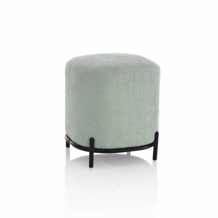 Okrągła pufa do salonu w nowoczesnym designie z zielonego lub szarego materiału - Ambrogia