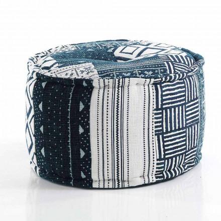 Okrągły puf o etnicznym designie w patchworku lub aksamicie - włóknie