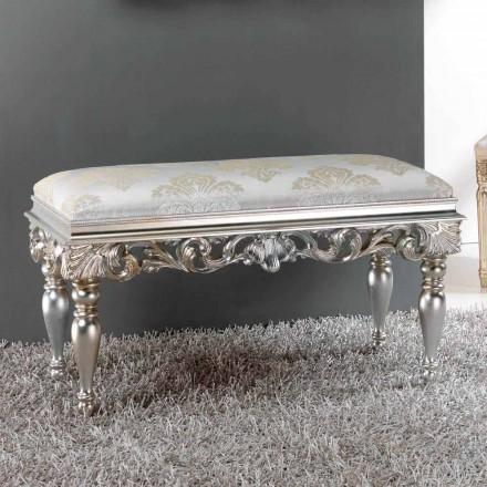 Pufa do sypialni klasyczna z wykończeniem srebrnym Zorn