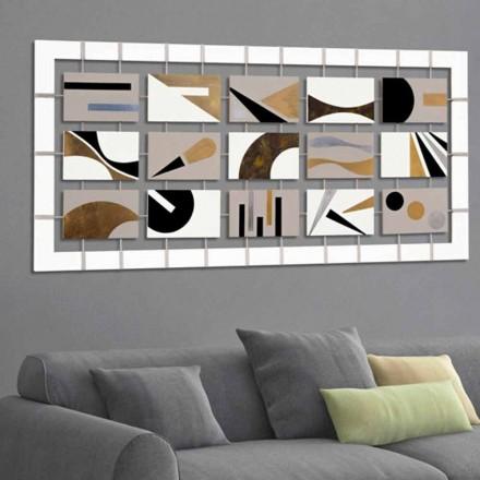 Obraz abstrakcyjny z panelami zawieszonymi na linach Craig