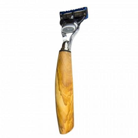Ręcznie robiona maszynka do golenia z drewna oliwnego lub rogu Made in Italy - Rabio