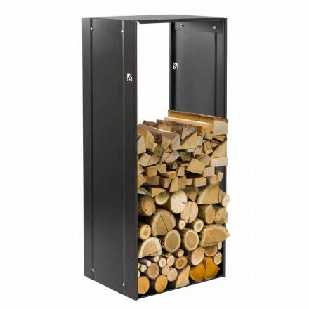 Rettangolo Nero 75pojemnik na drewno stal design do wnętrz