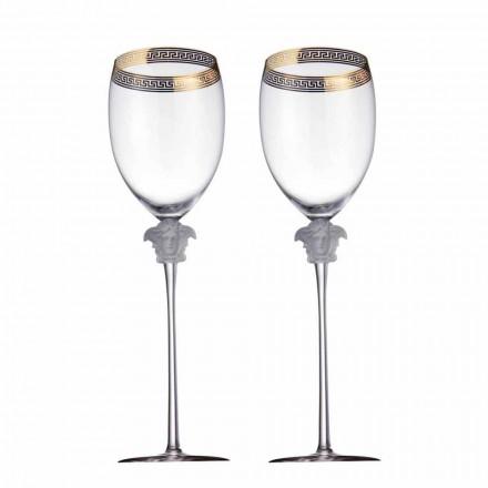Rosenthal Versace Medusa D'Or 4 kryształowe szklanki z designerską wodą