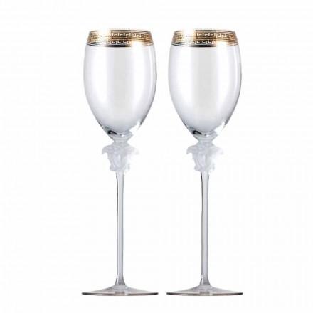 Rosenthal Versace Medusa D'Or 4 szklanki białego wina w krysztale