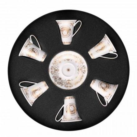 Rosenthal Versace Medusa Gala Gold zestaw filiżanek do espresso 6 sztuk porcelany