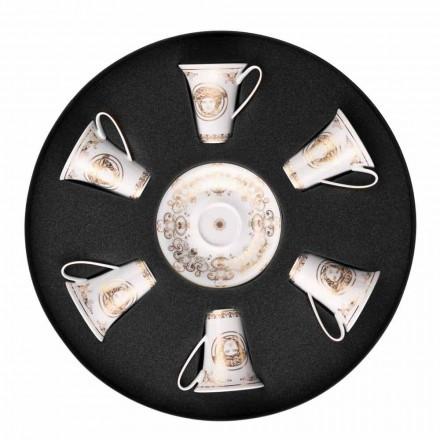 Rosenthal Versace Medusa Gala zestaw kubków do espresso 6 sztuk w porcelanie