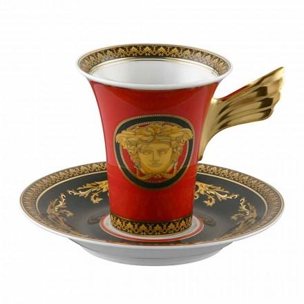 Rosenthal Versace Medusa Rosso Filiżanka do kawy o wysokiej porcelanowej konstrukcji
