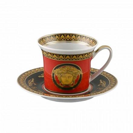 Rosenthal Versace Red Medusa Filiżanka do espresso w stylu porcelanowym