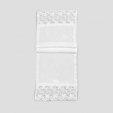 2 Bieżnik 100% len z luksusową białą koronką Made in Italy - Trionfo