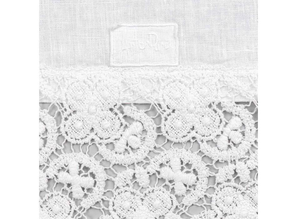 Bieżnik 100% lniany z luksusową białą koronką Made in Italy - Triumph