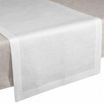 Bieżnik z kremowo-białej lnu 50x150 cm Made in Italy - Poppy
