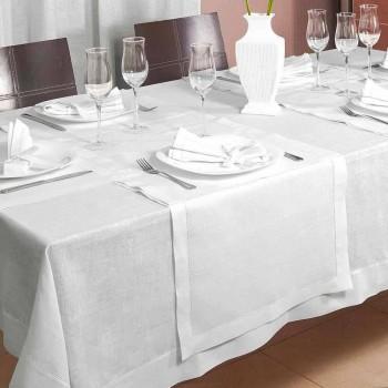 Bieżnik z czystej kremowej białej lnu Made in Italy - Chiana