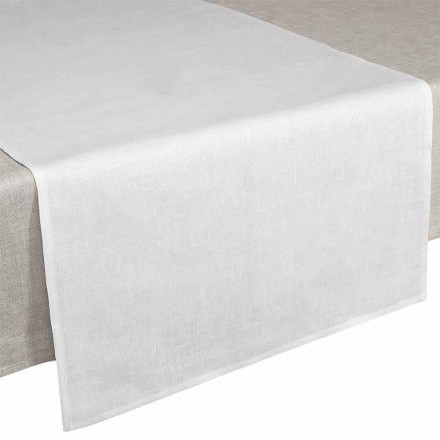 Bieżnik 50x150 cm z czystego lnu w kolorze kremowo-białym Made in Italy - Blessy