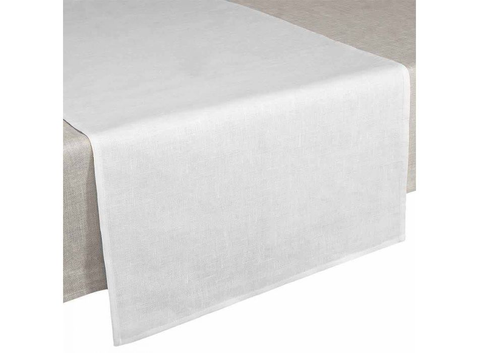 Bieżnik 50x150 cm z czystej kremowej białej lnu Made in Italy - Blessy