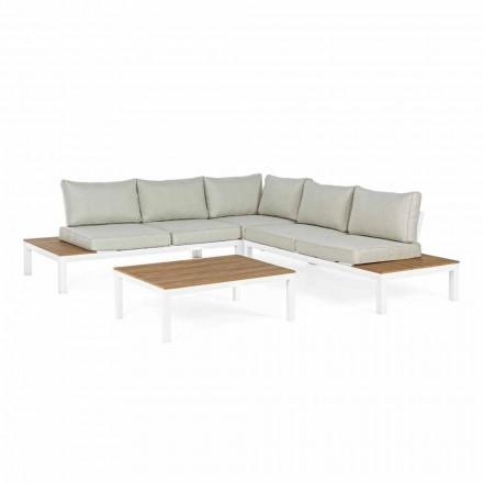 Salon na świeżym powietrzu z narożną sofą i stolikiem kawowym z aluminium i tkaniny - Verve