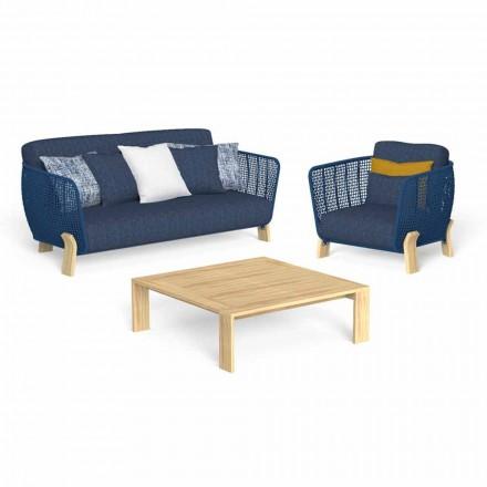 Salon ogrodowy z sofą, fotelem i luksusowym stolikiem kawowym - Argo firmy Talenti