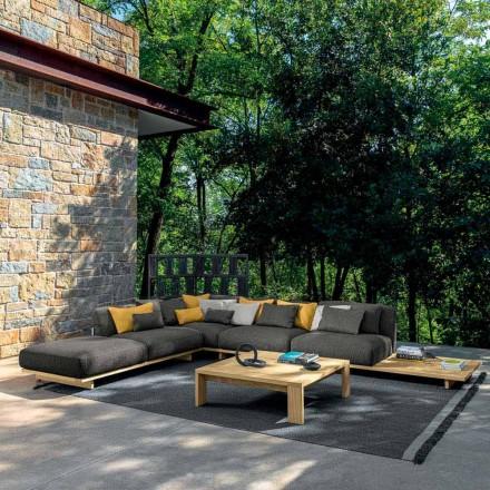 Salon ogrodowy z pufą i stolikiem kawowym z wysokiej jakości drewna - Argo od Talenti