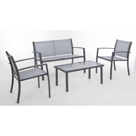 Salon ogrodowy z białej lub szarej stali oraz Design Textilene - szkielet