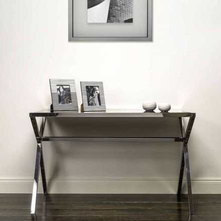 Projektowe biurko ze stali i błyszczącego czarnego szkła L120xH75cm Millon