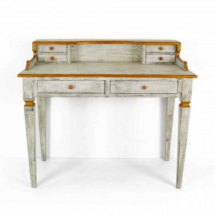 Ręcznie robione biurko z litego drewna z szufladami Made in Italy - Amela