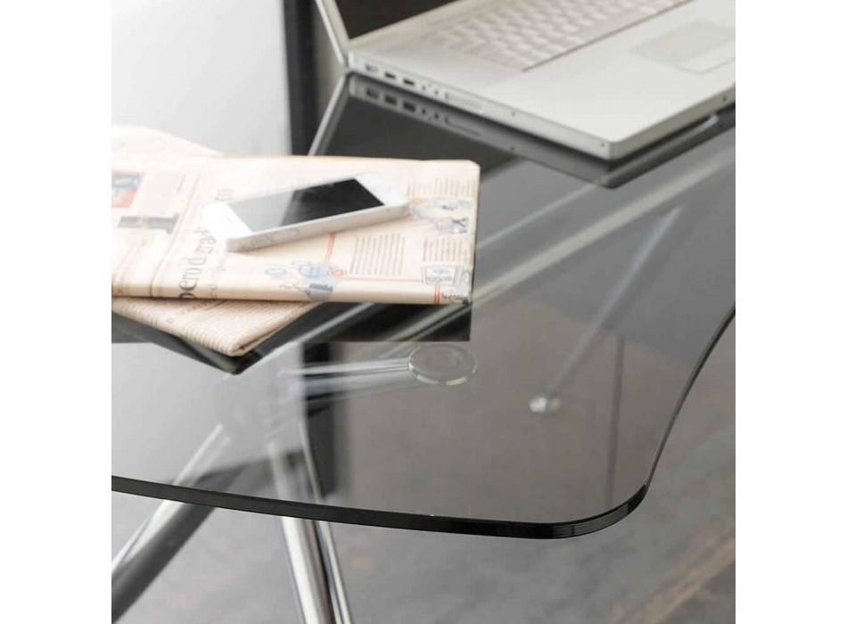 Biurko w krysztale z chromowaną strukturą Made in Italy - Xenon