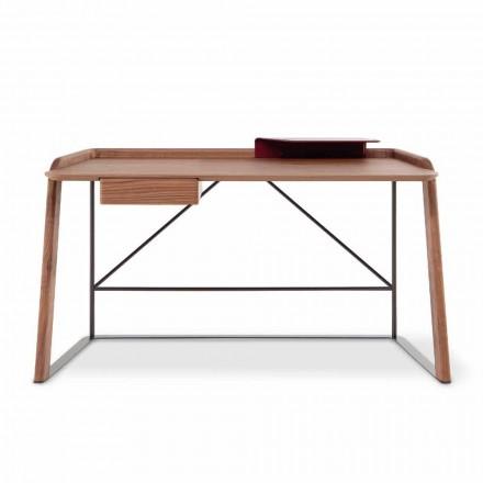 Metalowe biurko z drewnianym blatem Made in Italy - Bonaldo Scriba