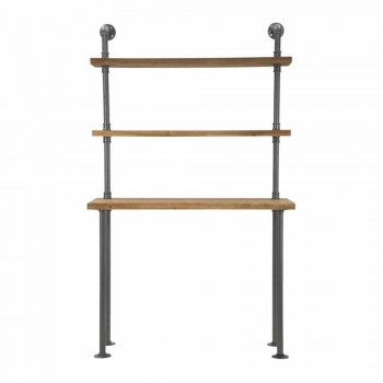 Biurko z nowoczesnymi półkami z żelaza i drewna - Aubry