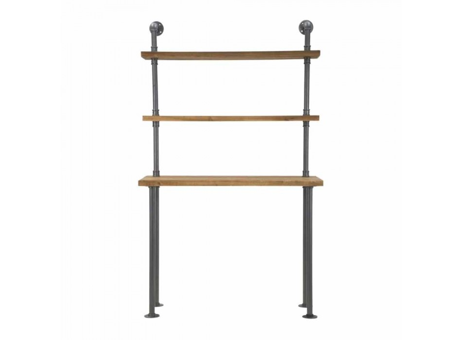 Biurko z półkami w nowoczesnym stylu z żelaza i drewna - Aubry