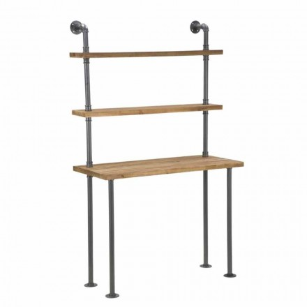 Biurko z półkami w stylu industrialnym z żelaza i drewna - Aubry