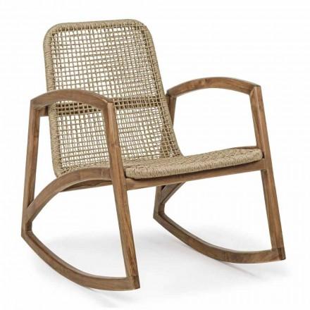 Fotel bujany na zewnątrz z drewna tekowego i tkania z włókien syntetycznych - Tosca