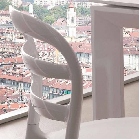 Białe krzesło z nowoczesnym wzornictwem Derulo