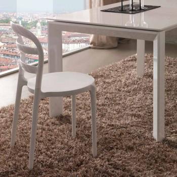 Białe krzesło Derulo o nowoczesnym designie