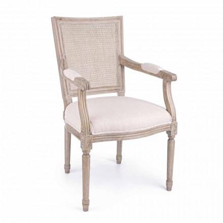 Klasyczne krzesło z podłokietnikami z drewna jesionowego i tkaniny Homemotion - Beza