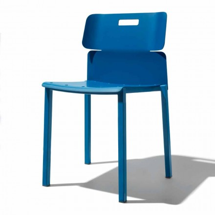 Kolorowe krzesło do układania w stosy na zewnątrz z aluminium Made in Italy - Dobla