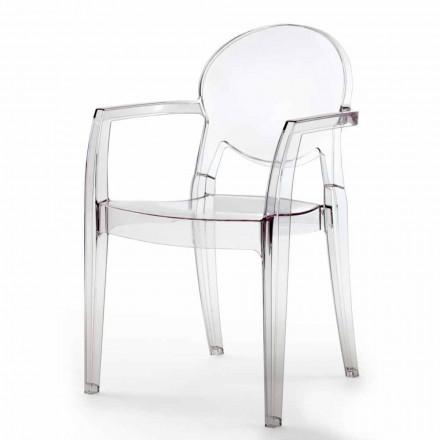 Krzesło z podłokietnikami całkowicie z poliwęglanu - Dalila