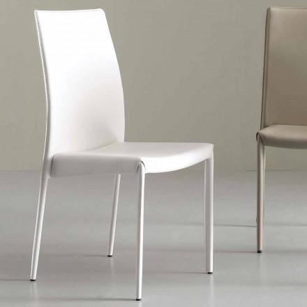 Nowoczesne krzesło całkowicie pokryte skórą sztuczną - Eloisa
