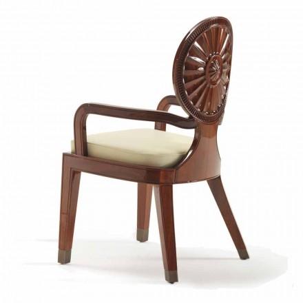 Krzesło z podłokietnikami drewniane luksusowy design Nicole