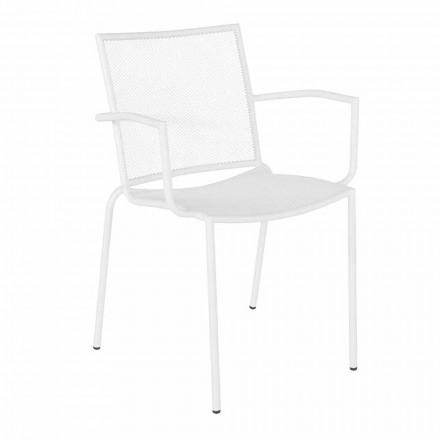 Designerskie krzesło ogrodowe z podłokietnikami, które można układać w stosy z białej stali - Magamago