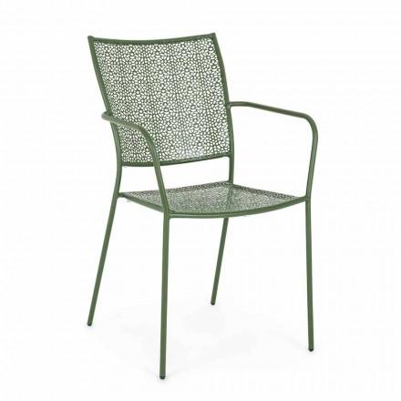 Krzesło ogrodowe z podłokietnikami Stal zdobiona do układania w stosy - Pantofel